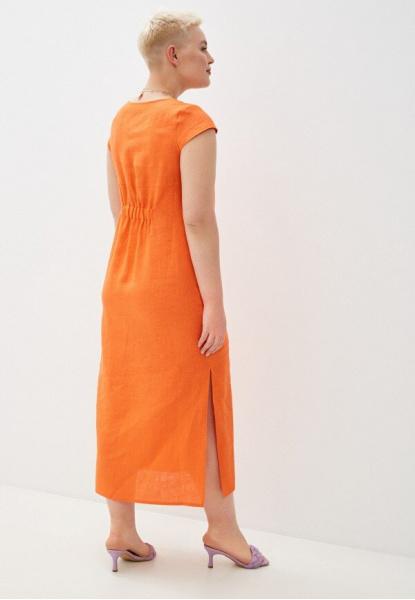 5169-49 Льняное платье оранжевое